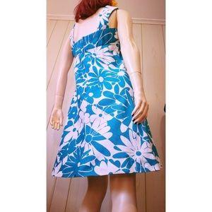 💙VTG 70s Hawaiian Floral Boho Blue Jumper Dress